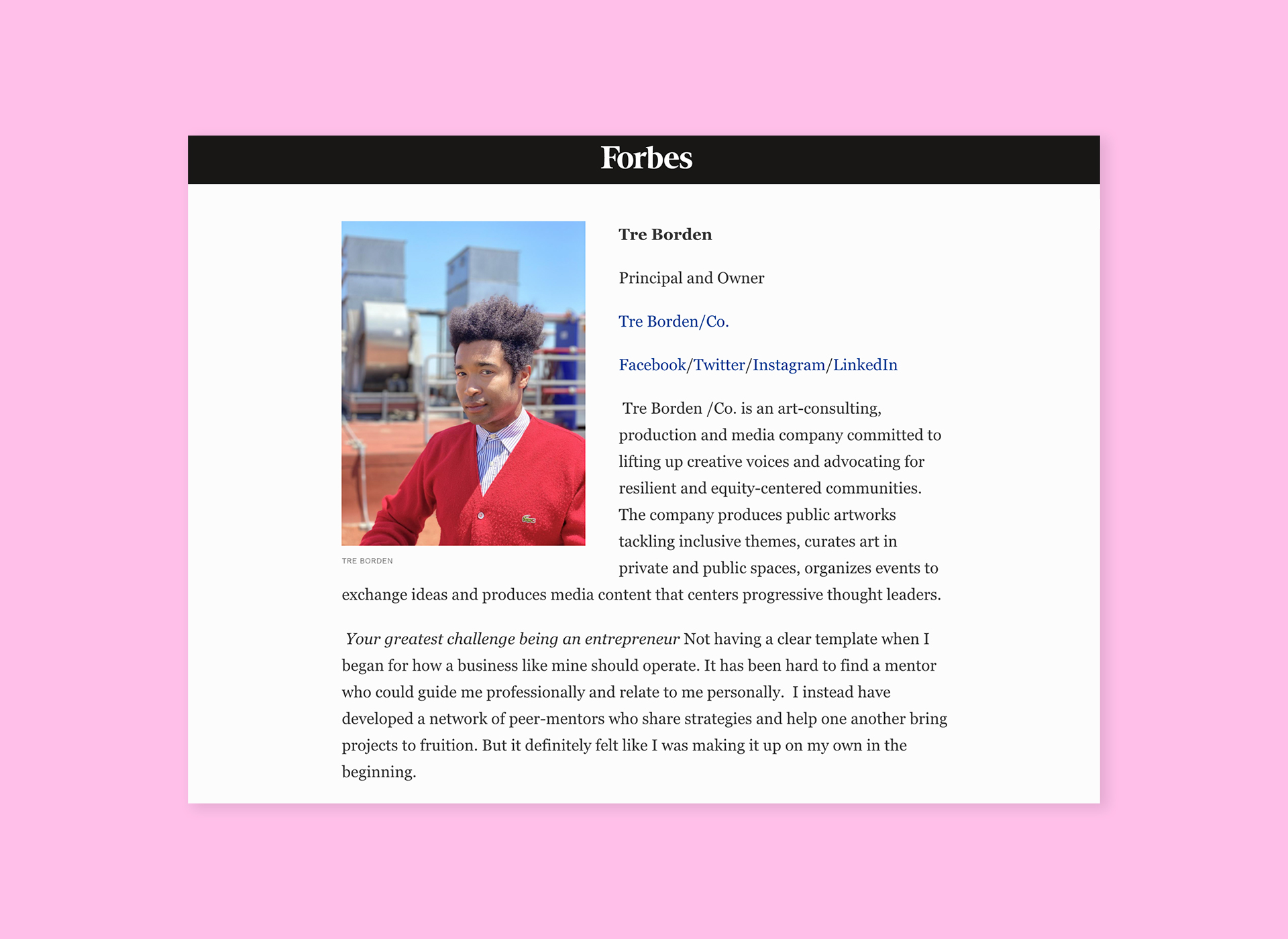 Forbes article screenshot over pink background